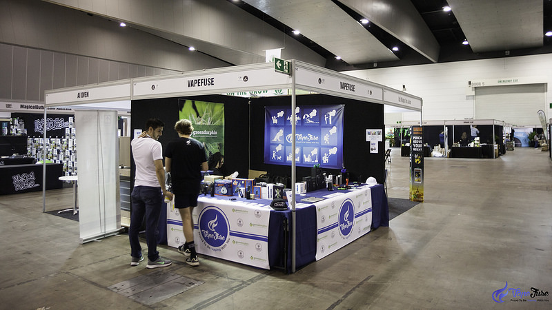 Setting up the VapeFuse Booth at the HHI Expo Melbourne, Australia