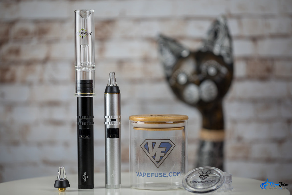 FocusVape Pro S in Black and Silver with and without water bubbler and VapeFuse Herb Curing Jar