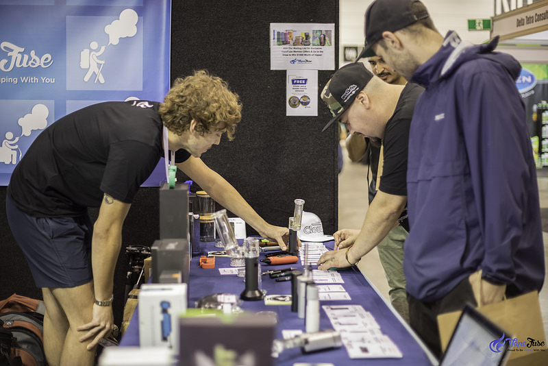 Customers at the VapeFuse Booth at the HHI Expo Melbourne, Australia