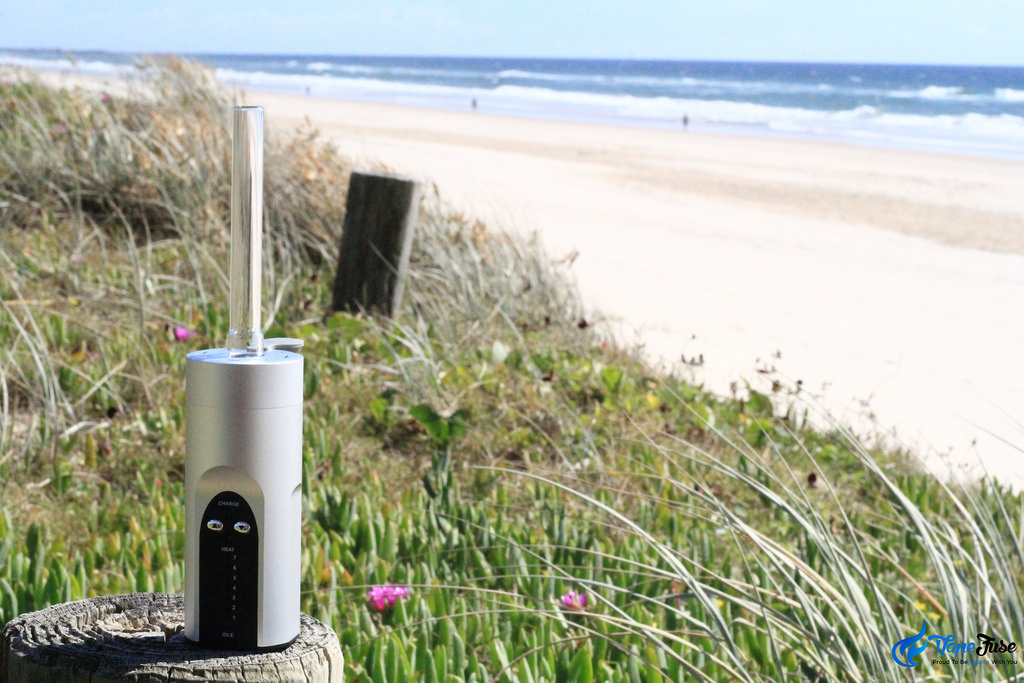 Arizer Solo Silver portable vaporizer on the beach