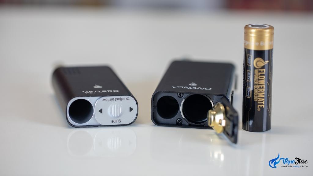 Flowermate V5 Nano Portable Vape vs Flowermate V5.OS PRO Mini - battery